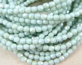 Czech Beads, 4mm Czech Glass Fire Polished Beads, 4mm Faceted Round Beads - Mint Green Glass Beads with Luster Finish (FP4/RJ-1609) - Qty 50