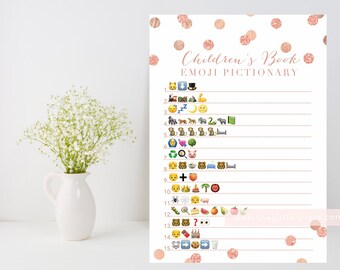 Children's Book Emoji Pictionary printable, rose gold confetti baby shower game downloadable, rose gold blush, INSTANT DOWNLOAD, 005