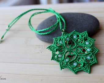 Green pendant, handmade jewelry, original gift for her, mandala necklace, micro macrame, sale jewelry, beaded pendant, festival jewelry