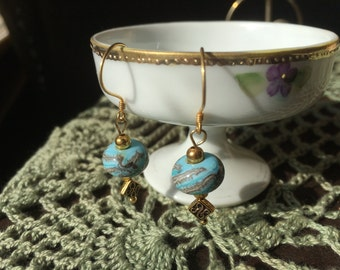 Artisan Crafted Lampwork Glass Earrings Baby Blue  Dangle  Earrings Blue Dangle Earrings OOAK Earrings