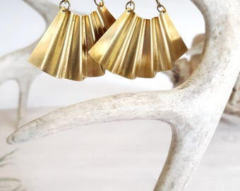 Large Statement Earrings Big Earrings Brass Earrings Fan Earrings Large Gold Earrings  Statement Earrings Dynamo