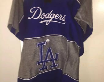 Mexican hand made stitched logo poncho serape Los Angeles dodgers