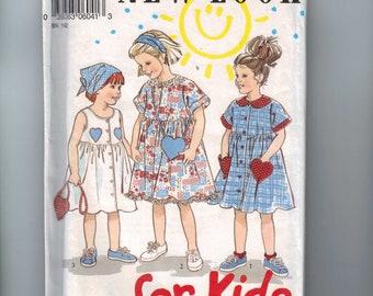 Girls Sewing Pattern New Look 6041 Girls Dress Sundress and Kerchief Heart Pockets Size 3 4 5 6 7 8 breast 22 23 24 25 26 27 UNCUT