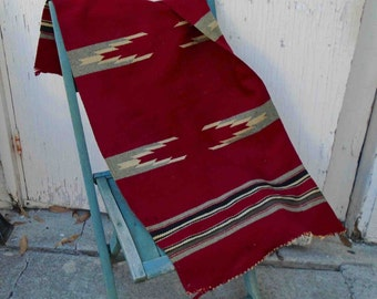 Vintage Thirties Red hand Woven Wool Chimayo Small Rug / Northern New Mexico / As-Is Condition