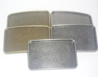 5 Belt Buckle Blanks - Antique Nickle & Brass Mix