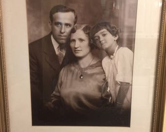 Vintage Family Portrait Sepia Photograph 1930 Style   Father Mother Daughter   Carved Wood Frame   Vintage Wall Art   Genealogy   Made USA