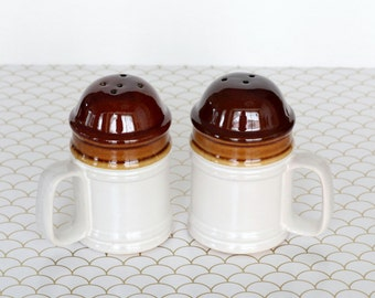 Cocoa and Caramel - Vintage Large Brown and Cream Handled Salt and Pepper Shakers