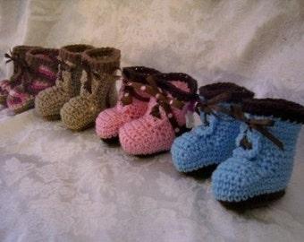 Baby Work Boot Booties Crochet Pattern pdf 295