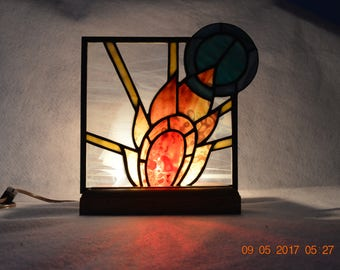 Art Deco Sun Stained Glass Panel Lamp