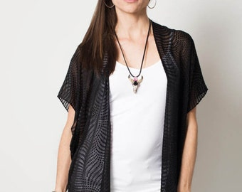 Silk Kimono Jacket- Black burnout kimono - Boho Cardigan -Boho kimono -Black cardigan -black sheer jacket-boho black jacket-dressy black top