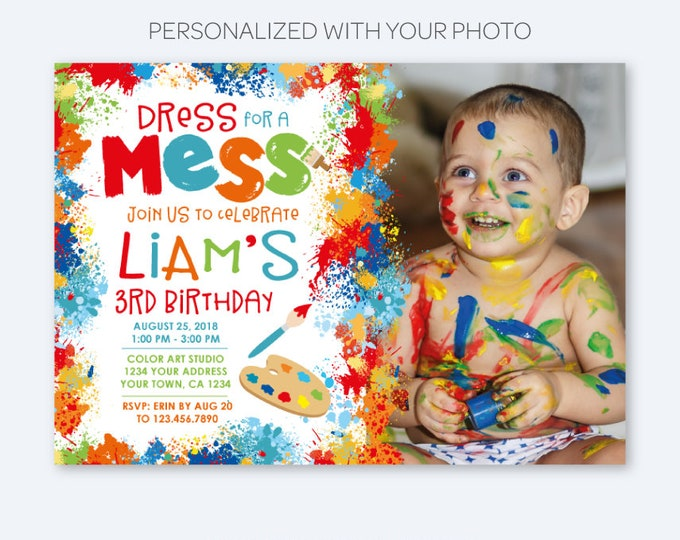 Painting Party Invitation with Photo, Art Birthday Party, Paint Party Invites, Painting Party, Personalized Digital Printable Invitations