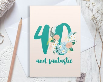 40th birthday card etsy bookmarktalkfo Choice Image