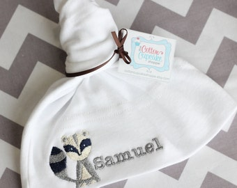 Personalized Raccoon Baby Knot Hat - You choose HAT COLOR