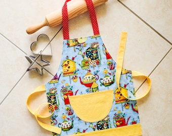 Childs Apron, girls boys kitchen baking craft play apron, kids lined cotton apron with pocket, colorful vintage birdhouses & birds pattern