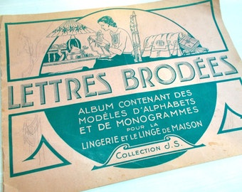 1953 French Monogram Pattern Book.  Lingerie & House Linens.  24 Pages of Monograms. Collections Paris.   VGC(4631s