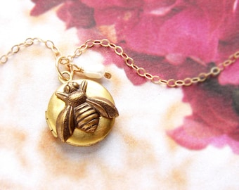 Bee locket necklace, Bridesmaid jewelry, bee charm locket, honey bee, Be Mine LOVE bug tiny gold bee locket necklace