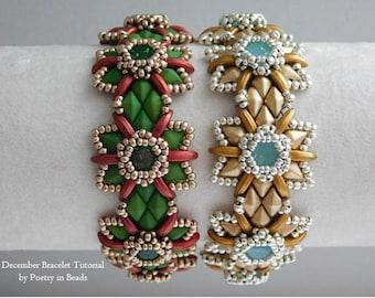 Bracelet Beading Tutorial, Beaded Pattern, December Bracelet, Christmas Bracelet, Diamonduo, Czechmates 2 hole Crescent, Swarovski Chaton