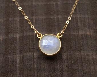 Moonstone Necklace, Circle Necklace, Gemstone Necklace, Rainbow Moonstone, Gold Filled Necklace, Simple Gemstone Necklace