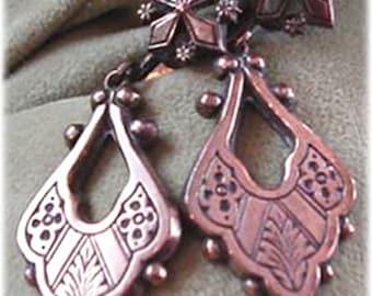 Patterned Copper Color Dangle Earrings