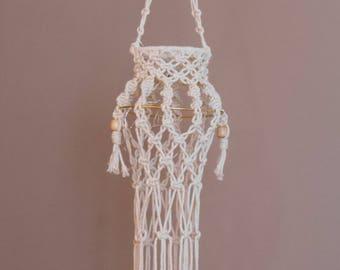 Large Hanging Macrame Lantern ~ Macrame Chandelier ~ Light Mobile ~ Battery Operated Fairy Lights