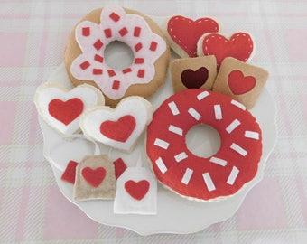 Tea for Two Queen of Hearts Red and White Tea Party Set, Felt Donuts, Cookies, and Tea Bags