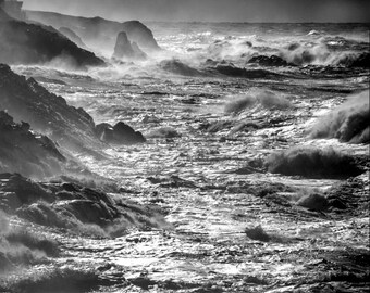 Ocean Storm Photo, Pacific Ocean Photography Crashing Waves Photograph Oregon Coast Black and White Wall Art nat27