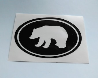Black Bear car window decal, tumbler decal,laptop decal,vinyl decals,suv decal,yeti decal truck decal,black bear vinyl decal-oval bear decal