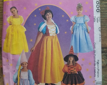 Girls Princess or Witch Costume Pattern -  sizes 4-6