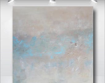 Large Modern Original Abstract Art Painting Elegant Tone on Tone Neutral Blue Pearl Shimmer Textured Wall Hanging Decorating Home Living USA