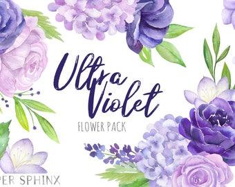 Watercolor Purple Flowers Clipart   Ultra Violet Wedding Floral - Hydrangea, Lavender, Peony - Wedding Invitation - Instant Download