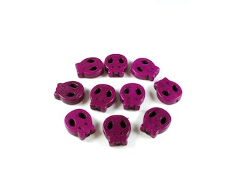 10 beads skull flat Turquoise synthetic Pink / Purple approximately 15 x 13 x 4mm