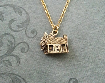 Cabin Necklace VERY SMALL Gold Cabin Charm Necklace Cabin Jewelry Cabin Gift Camping Gift Camp Gift Lakehouse Necklace Bridesmaid Necklace