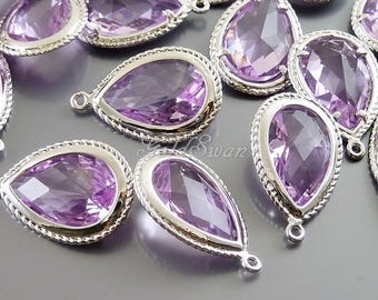 2 pcs lovely light amethyst lavender faceted glass with bail, bridal earrings, bridal DIY gifts, bridesmaid jewelry 5157R-LA