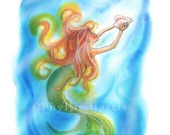 Magical Mermaid Print - Mermaid Wall Art Print