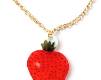 Strawberry Fruit Necklace - Pendant, Berry, Juicy, British, Red Berries, Food, Healthy, Tree, Woodland