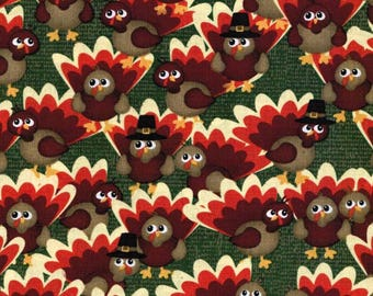 Watercolor Turkeys Cotton Thanksgiving / Harvest Fabric sold by the yard and by the half yard