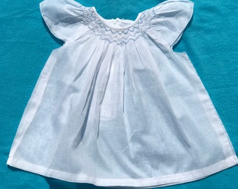 White dress, Hand smocked dress, Beach wear, Bishop smock dress, Blue smock, Summer dress, Baby girl dress, Pure cotton dress, Size 6 months