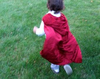 Dark Red Crushed Velvet Childrens Littlre Red Riding Hood Dr Strange Cloak