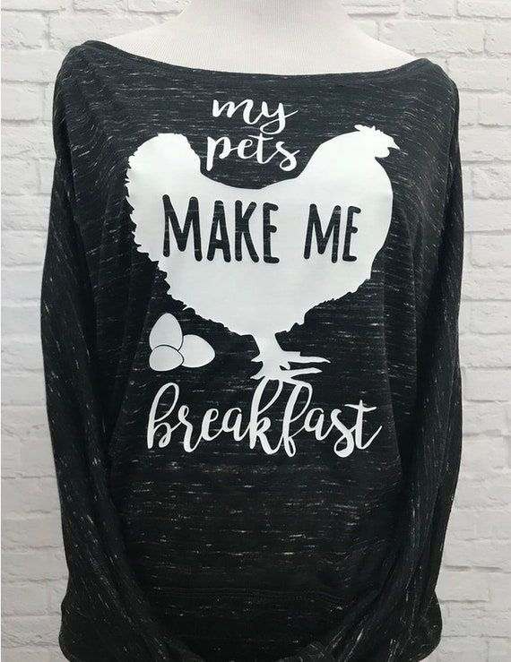 My Pets Make Me Breakfast Flowy off the Shoulder Long Sleeve T-shirt