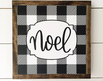 13 x13 | Buffalo Plaid Noel | charcoal and white | Framed Wood Signs