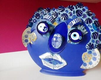 """Mosaic Vase """"Mr. It wasn't me!"""" in blue"""