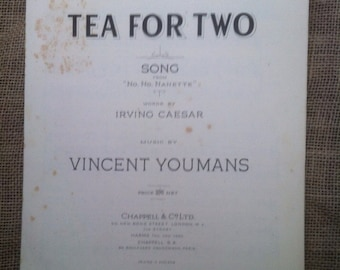 Vintage Sheet Music 1924. Tea For Two. Song from No, No, Nanette by Caesar anf Youmans. 1920s Musical