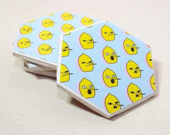 Lemongrab Hexagon Coaster | Single Coaster | Adventure Time Ceramic Tile Coaster | Housewarming Gift | Kawaii Cartoon Drink Coaster