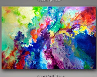 Fluid painting print, giclee print on stretched canvas from my original modern abstract fluid painting, flow painting