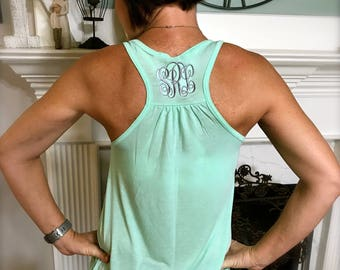 Monogrammed Bella Flowy Tank Top-FIVE NEW Colors