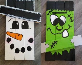 Scarecrow/Snowman Reversible Wooden Sign Handmade Handpainted Home decor