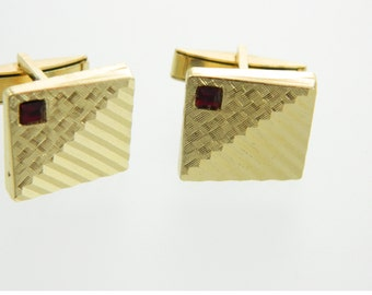 Gold Ruby Cuff Links - CL002