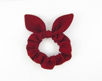 Knot Bow Hair Scrunchie Burgundy