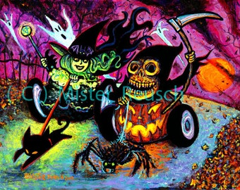 Race with Death Halloween Witch and Grim Reaper Art Print by Mister Reusch
