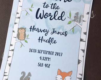 Personalised Welcome to the World foiled prints - girls and boys designs